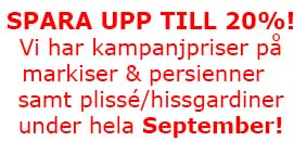 Rea på markiser och persienner under hela september!